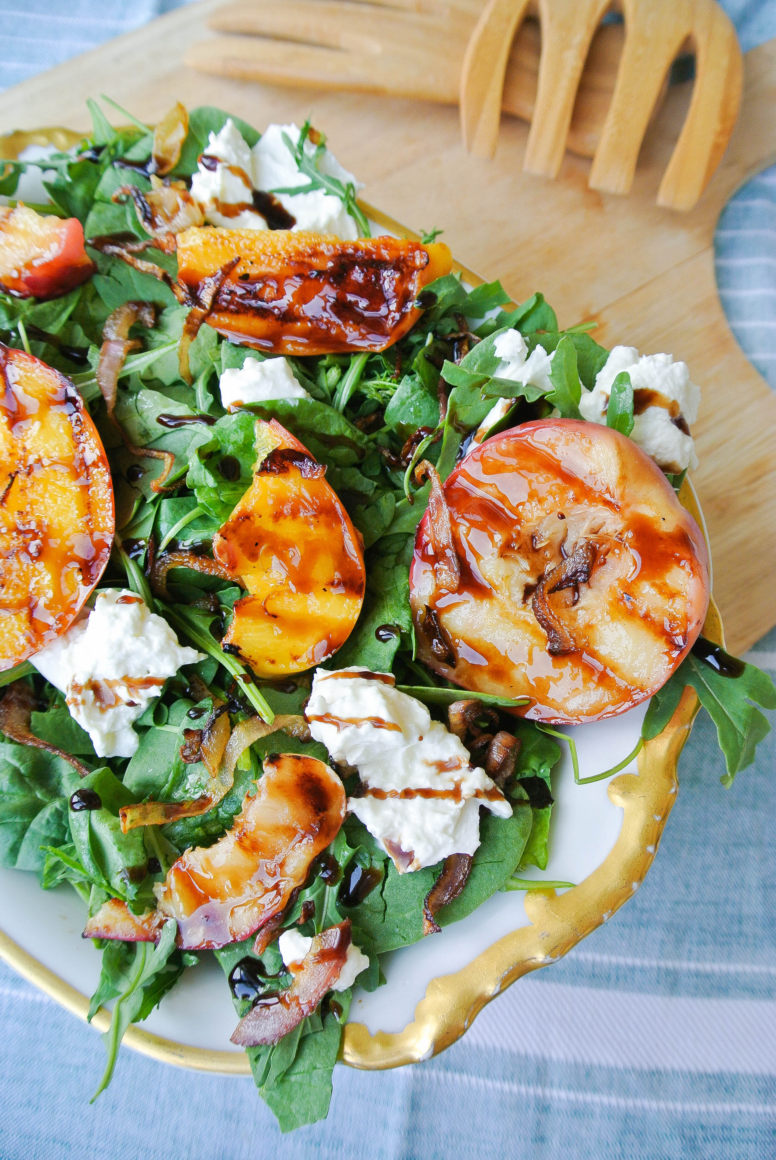Grilled Peach and Burrata Salad with Balsamic Glaze