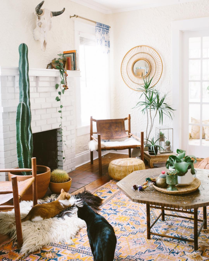 Get Inspired: The DIY White Brick Fireplace (Love this one in a very Bohemian Living Room!)