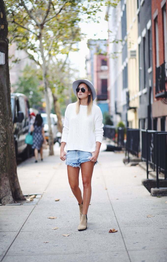 The Best Ways to Wear Boots Before It Gets Chilly (Cutoff Denim Shorts and Booties)