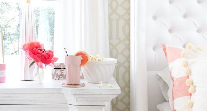 Flowers and Popcorn by the Bed in a Feminine Bedroom