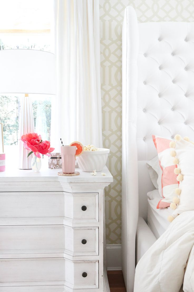A Simple Way to Brighten Your Bedroom for Summer (Flowers and Popcorn by the Bed in a Feminine Bedroom)