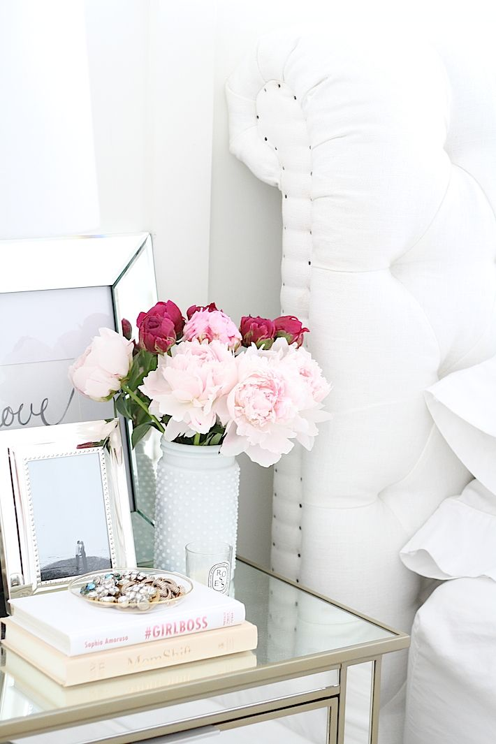 A Simple Way to Brighten Your Bedroom for Summer (Flowers in an All White Bedroom)