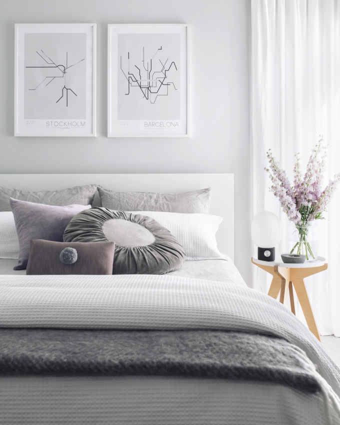 A Simple Way to Brighten Your Bedroom for Summer (Grey White and Lilac Bedroom with Flowers)