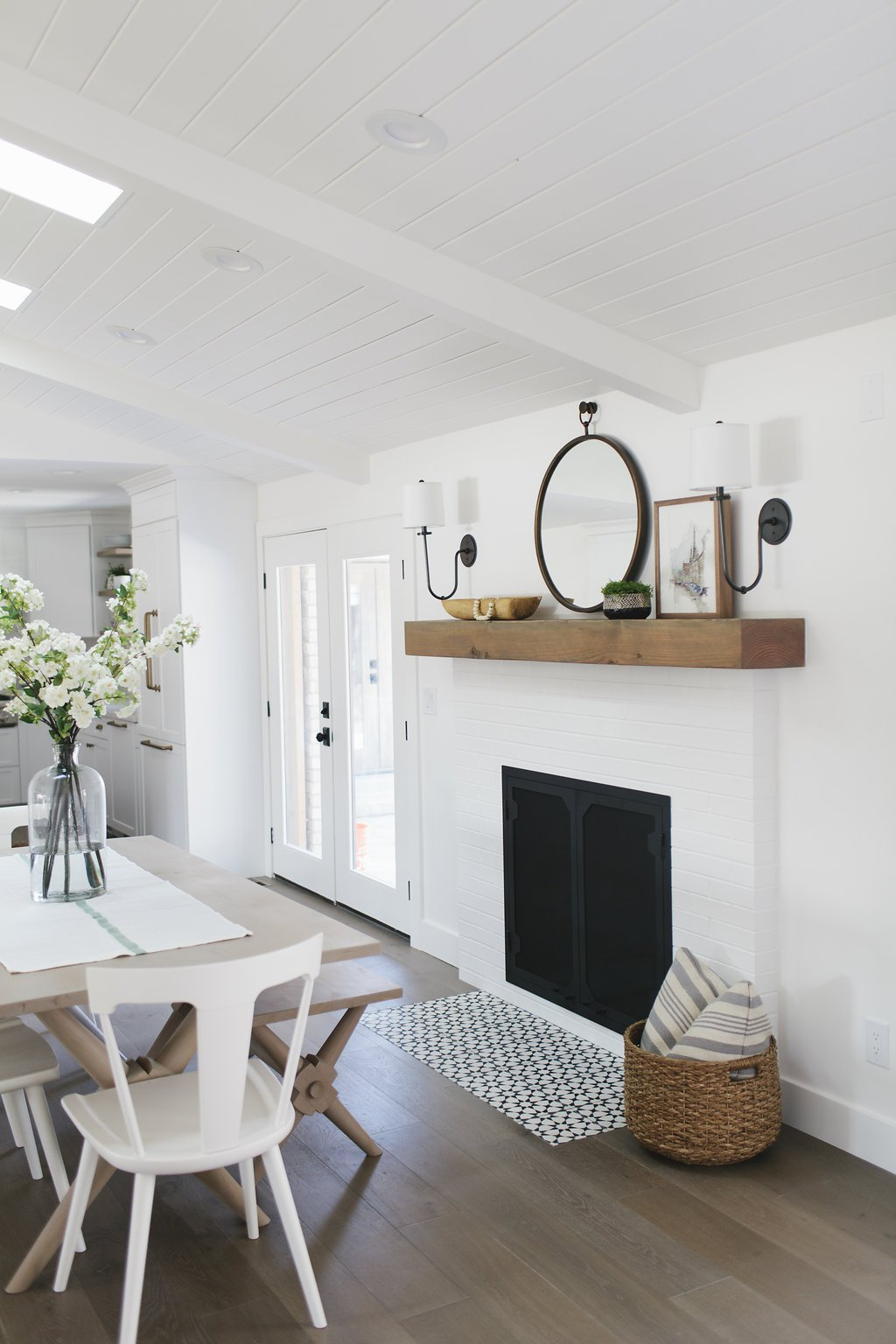 Get Inspired: The DIY White Brick Fireplace (Love this one in a Dining Room!)