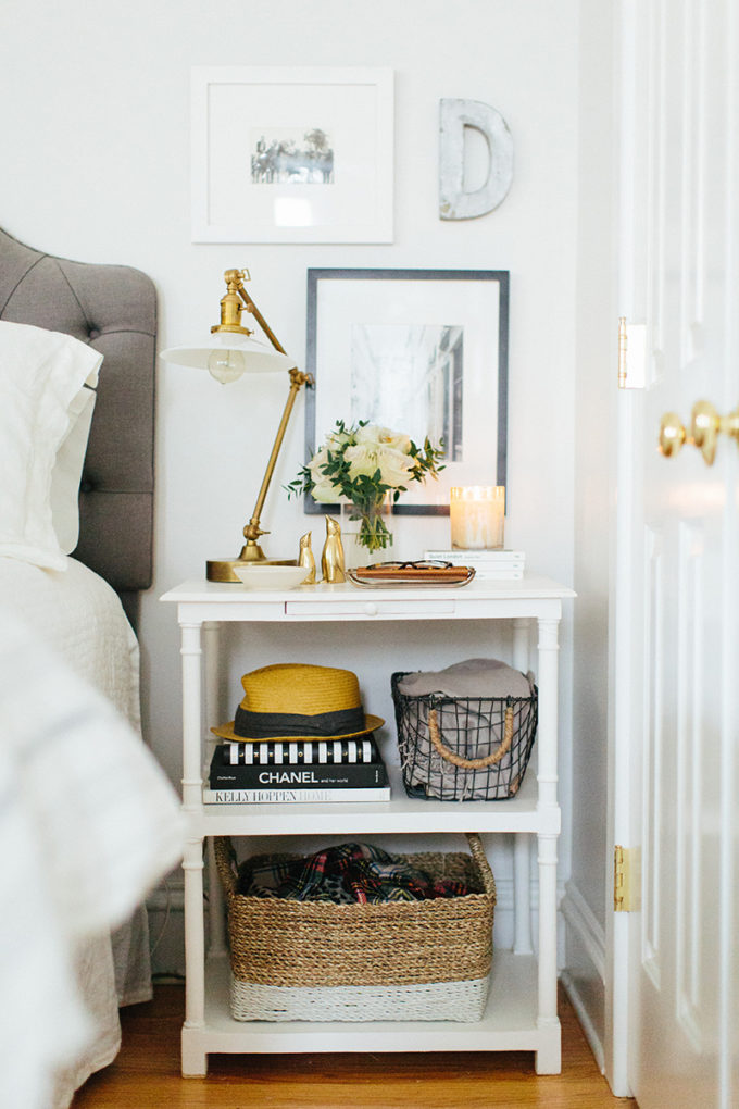 A Simple Way to Brighten Your Bedroom for Summer (white Roses by the bed - glamorous gold and white bedroom)