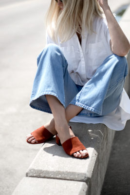 White Shirtdress and Cropped Wide Leg Jeans and Jeffrey Campbell Beaton Slide
