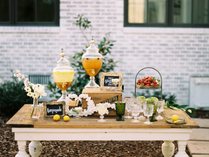 Outdoor Styled Southern Dinner Party - Behind-the-Scenes of a Styled Shoot (Drink Station)