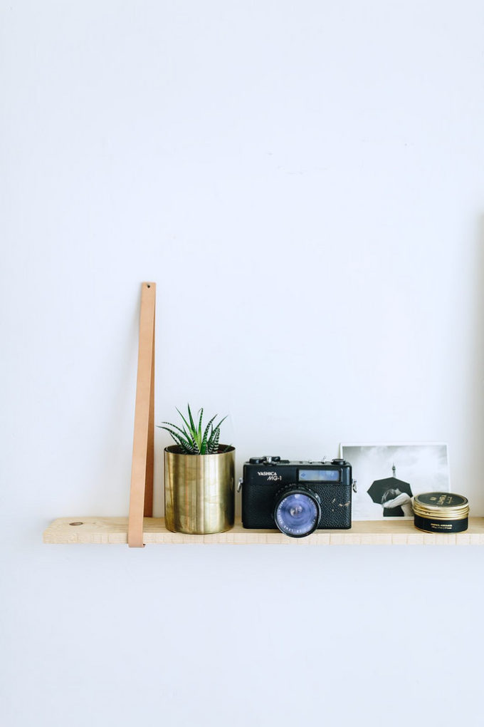DIY HANGING LEATHER SHELVES