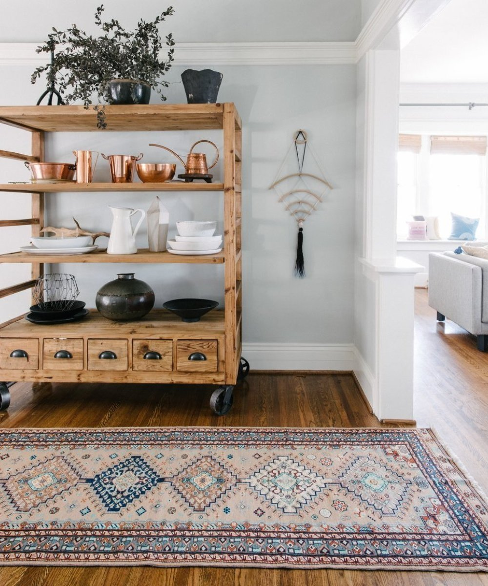 Your New Favorite Bohemian Home Décor Site: Loom + Kiln (Persian Caucasian Rug in a Bohemian Dining Room)