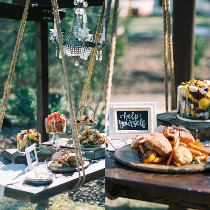 Outdoor Styled Southern Dinner Party - Behind-the-Scenes of a Styled Shoot (Hanging Buffet Table)