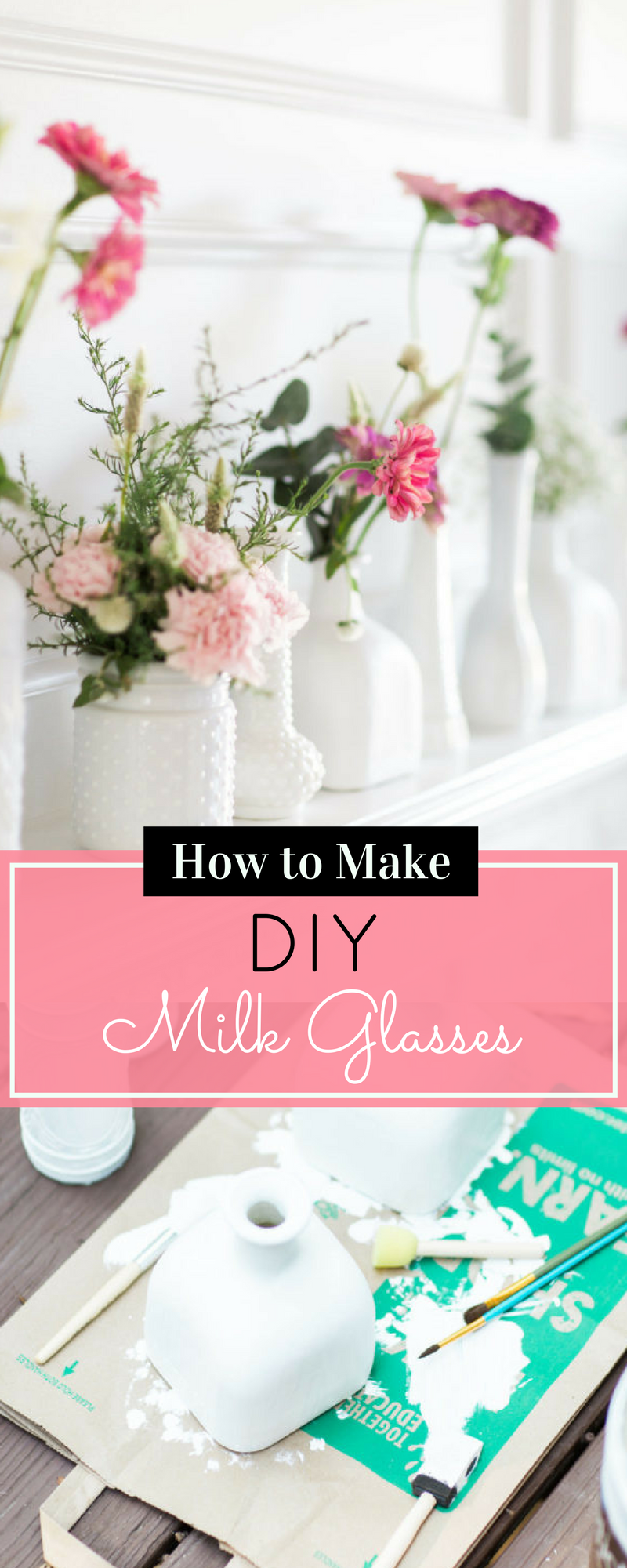 How to Make DIY Milk Glass. Click through for the easy step-by-step guide to making your own inexpensive version. | glitterinc.com | @glitterinc