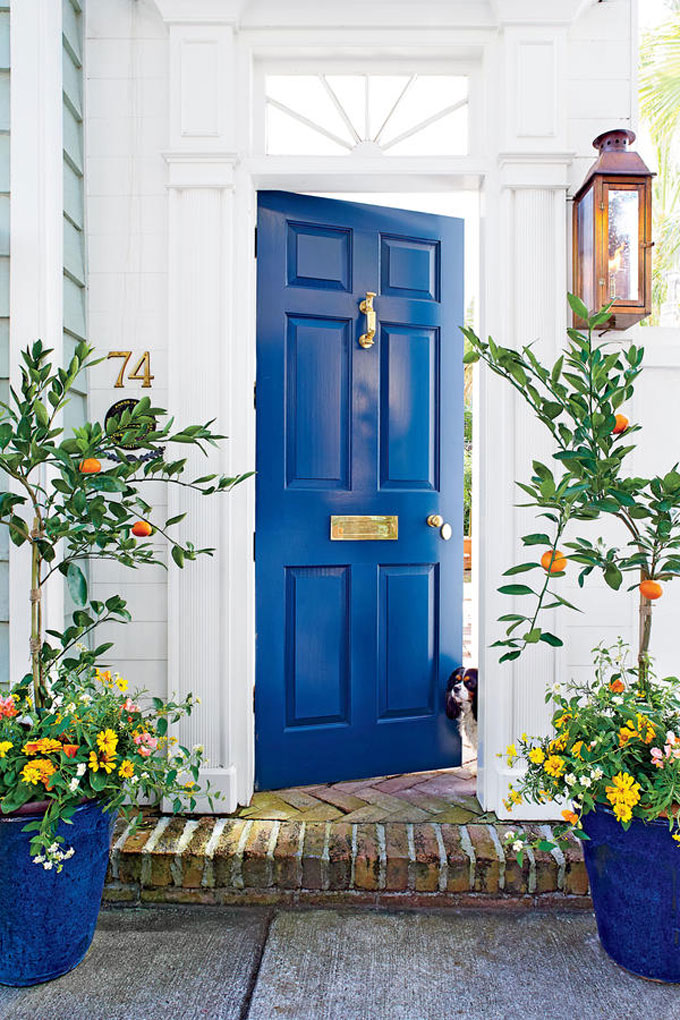 How to Upgrade Your Front Door with Modern Door Knockers (Blue Front Door and Gold Knocker)