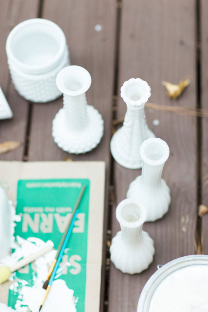 How to Make DIY Milk Glass. Click through for the easy step-by-step guide to making your own inexpensive version.
