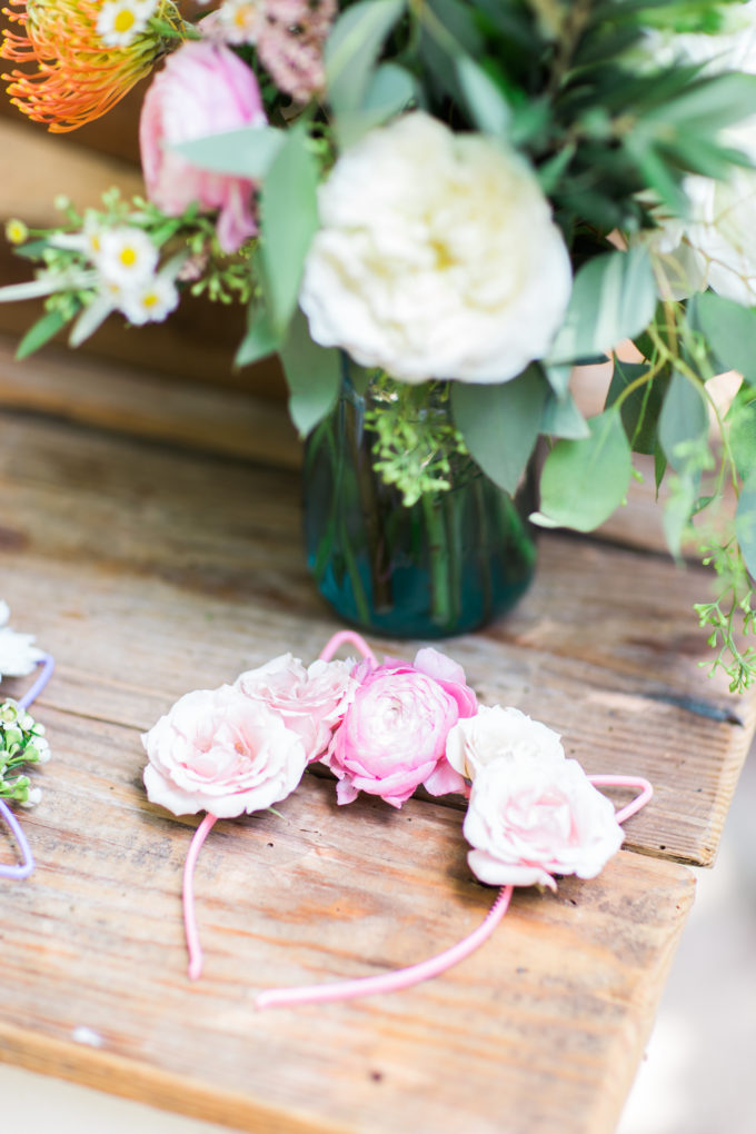 "Behind-the-Scenes of a Whimsical Bohemian Backyard Birthday Festival: ""flower crown"" cat and bunny ears. Click through for the details. 