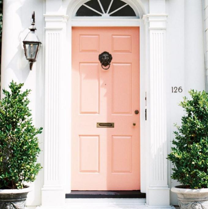 How to Upgrade Your Front Door with Modern Door Knockers (Love this pink door in Charleston!)
