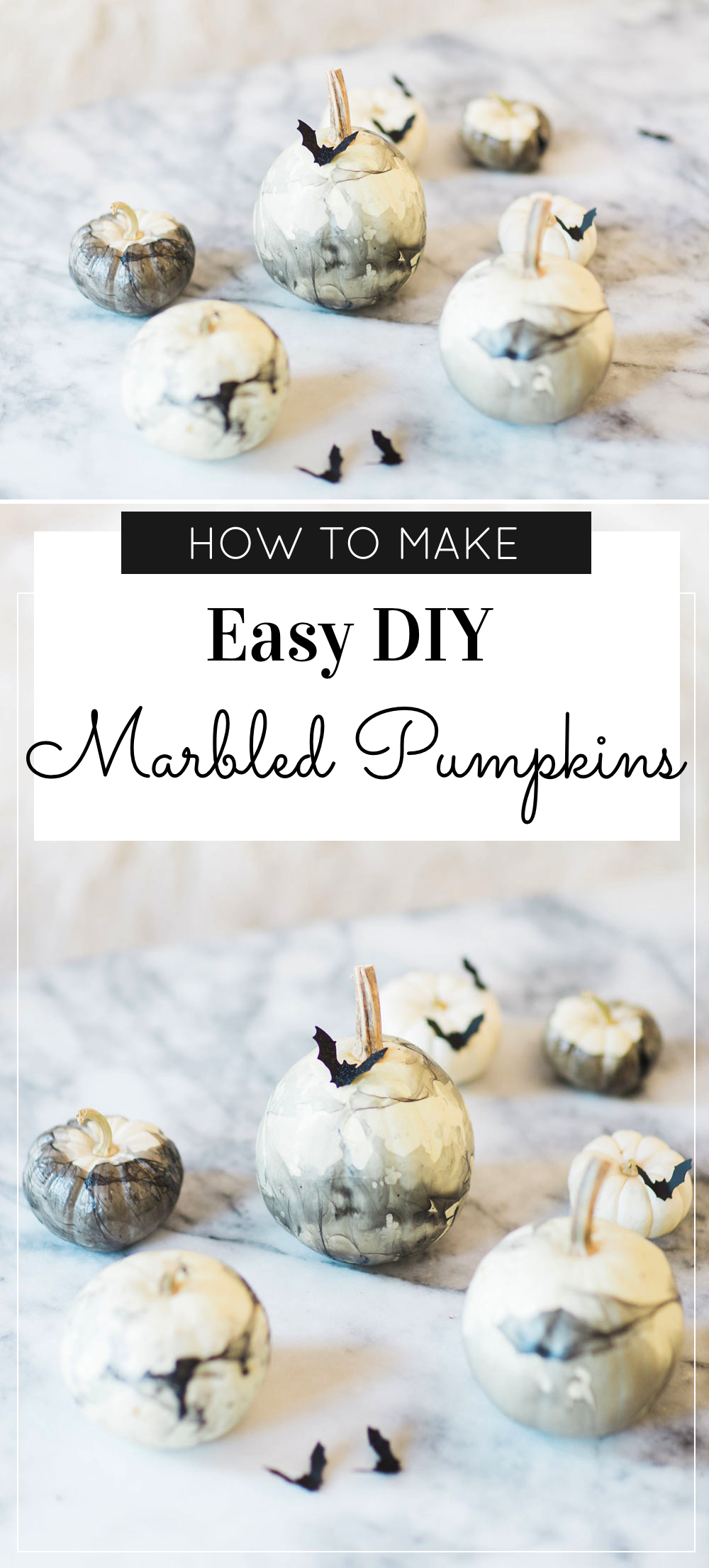 How to make chic and easy DIY marbled pumpkins (perfect for Halloween!) Click through for the details. | glitterinc.com | @glitterinc