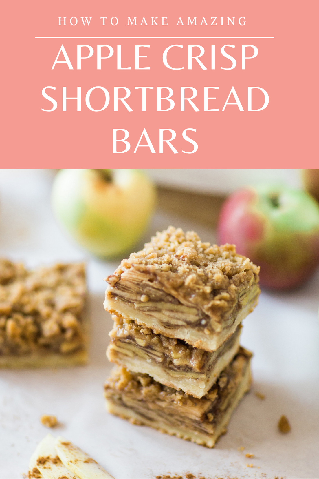 Forget pie; if you love apple desserts, you're gong to want to make these apple crisp shortbread bars, stat. These bars are much simpler to make than a pie, but pack all of the same delicious flavor, plus a rich and buttery shortbread crust, and bars are portable. Click through for the recipe. | glitterinc.com | @glitterinc