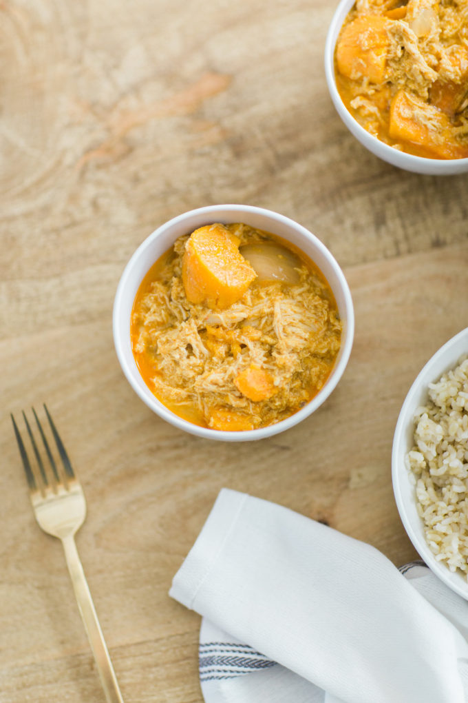 Our favorite 3-Ingredient Trader Joe's Thai Coconut Curry Chicken. Click through for the EASY recipe. | glitterinc.com | @glitterinc