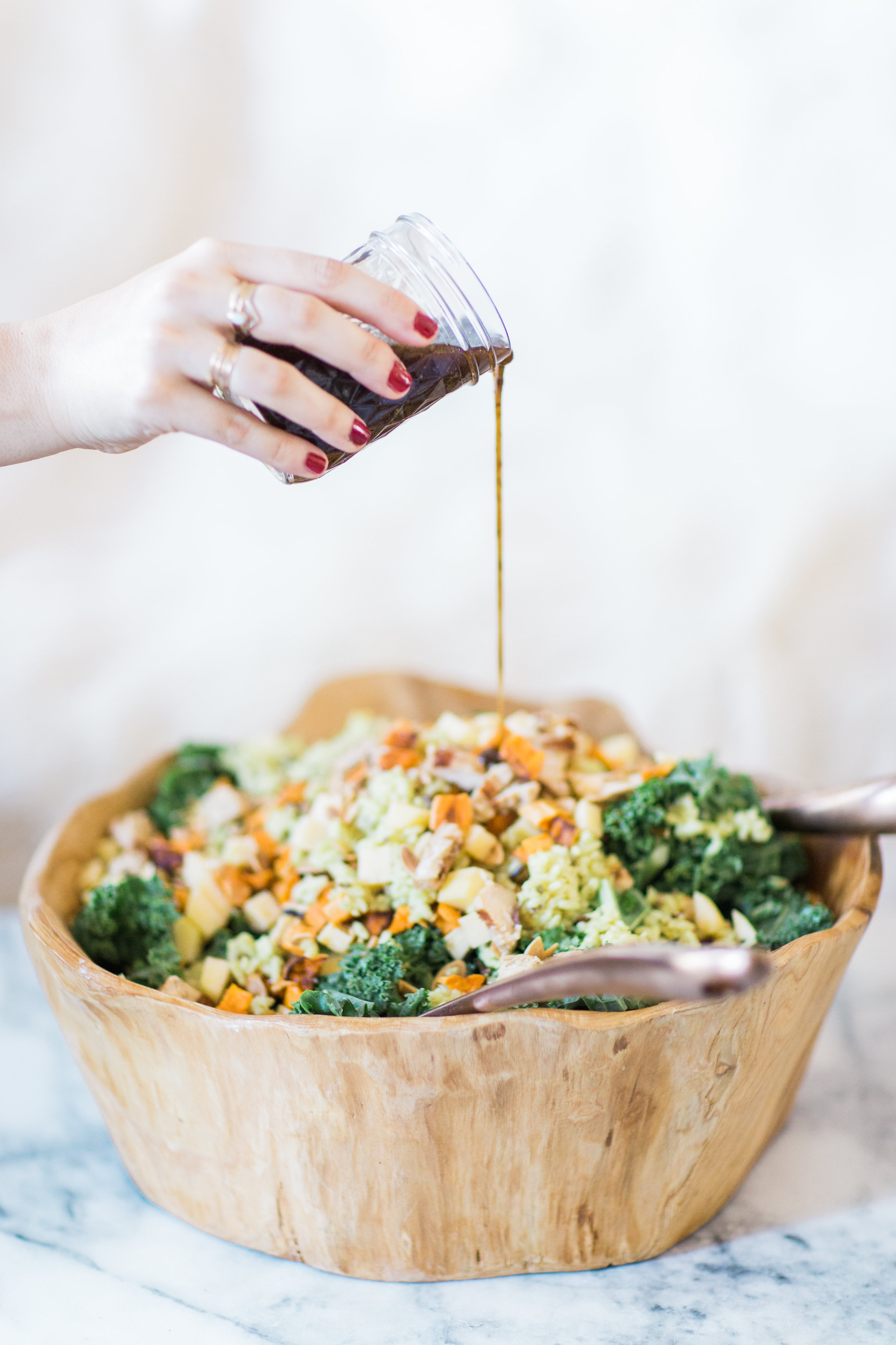 How to make the most amazing knockoff version of the harvest bowl salad at sweetgreen. This one is salad done right. Click through for the recipe. | glitterinc.com | @glitterinc - Our Favorite Harvest Salad by North Carolina foodie blogger Glitter, Inc.
