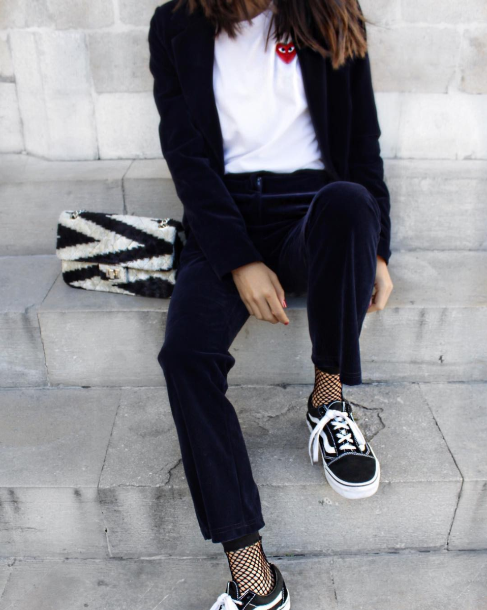 Fishnets and sneakers. By the way, Fishnets Are Back: Here are 18 Chic Ways to Wear Them.   glitterinc.com   @glitterinc