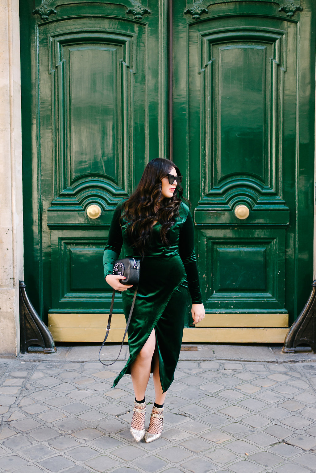 Green Velvet Dress, Fishnet Socks, and Gold Glitter Heels. By the way, Fishnets Are Back: Here are 18 Chic Ways to Wear Them. | glitterinc.com | @glitterinc