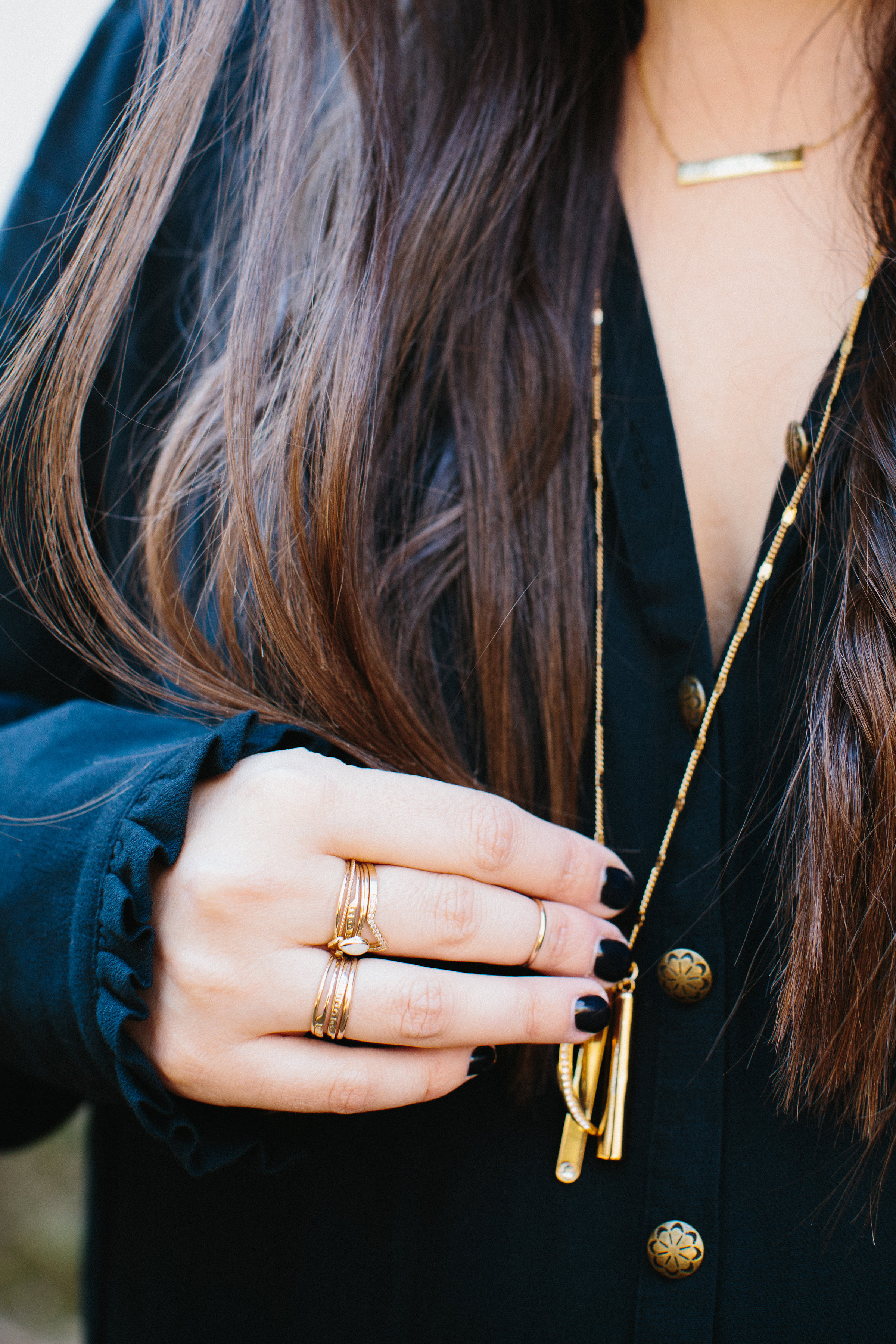What Everyday Jewelry Do You Wear Most? I'm obsessed with stacking rings and delicate necklaces. Click through for the details. | glitterinc.com | @glitterinc