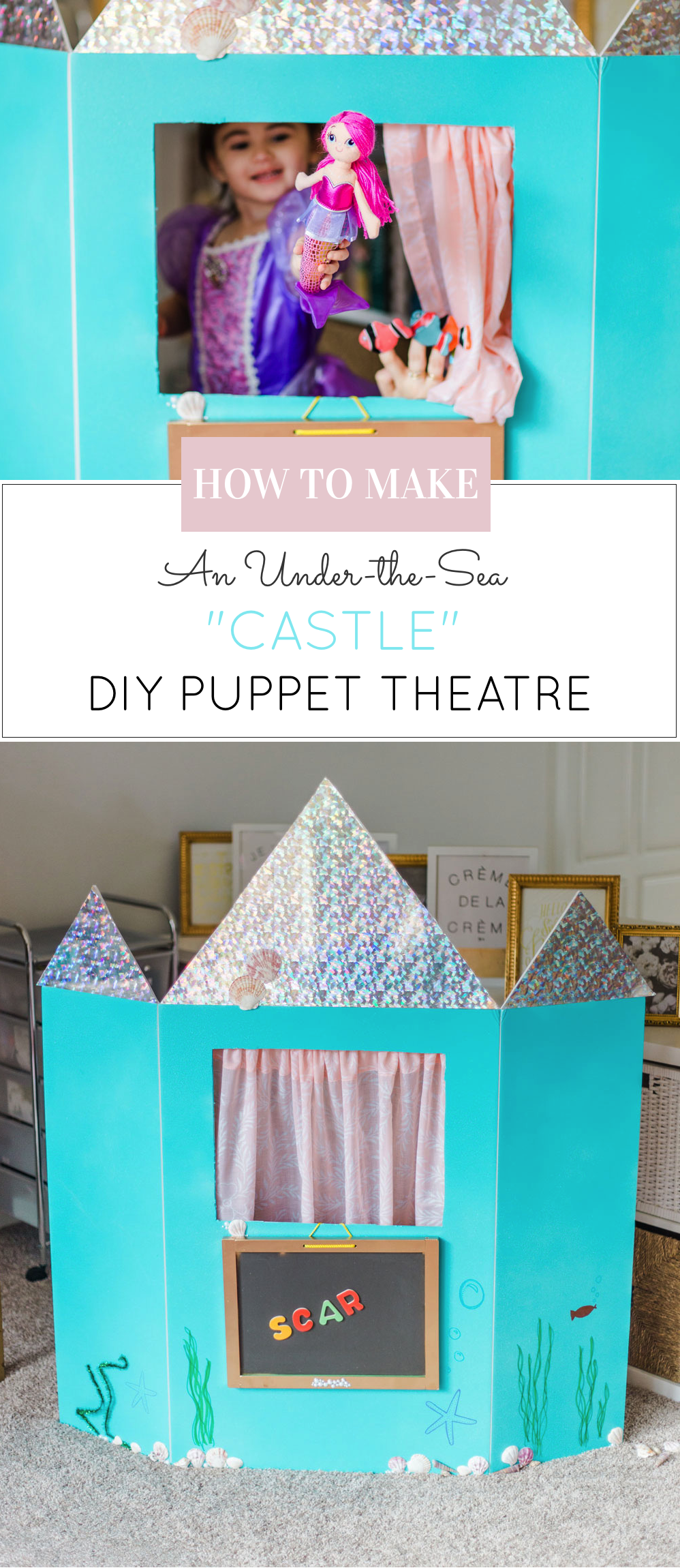 How to make a DIY Puppet Theatre with a trifold foam poster board. (Learning Colors, Numbers, and Letters too ... in an under-the-sea CASTLE!) | glitterinc.com | @glitterinc