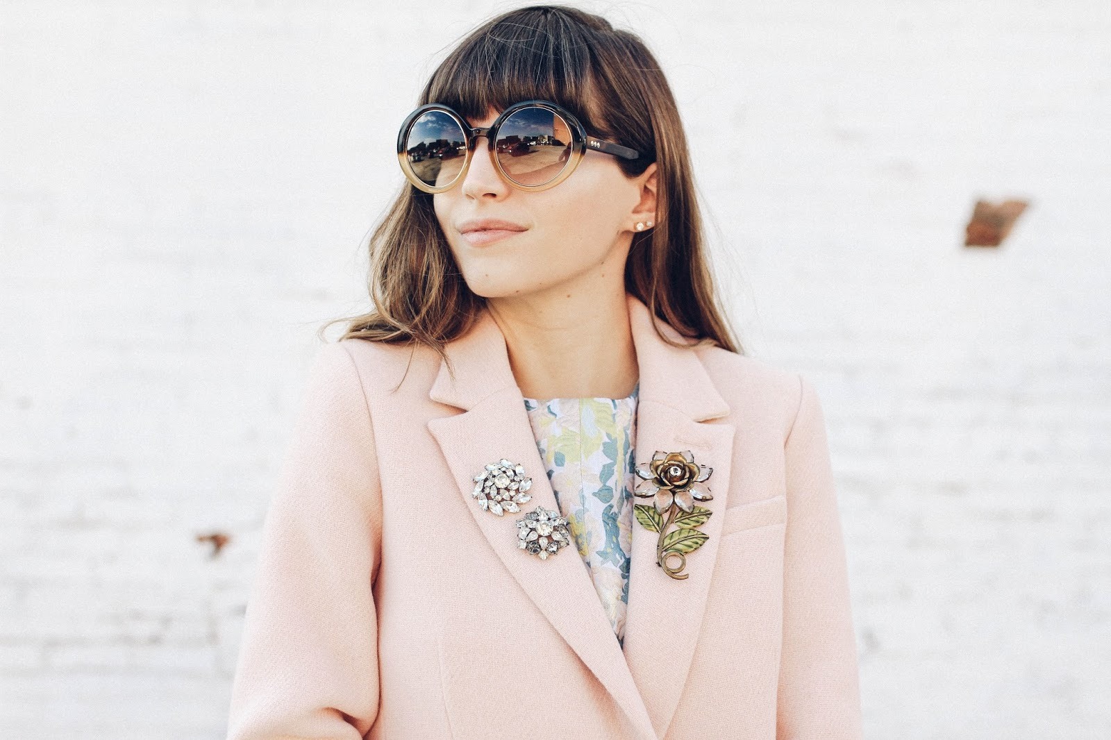 Put a Pin On It: A Brooch That Is (vintage brooches on a blush pink coat) | Click through for the details. | glitterinc.com | @glitterinc
