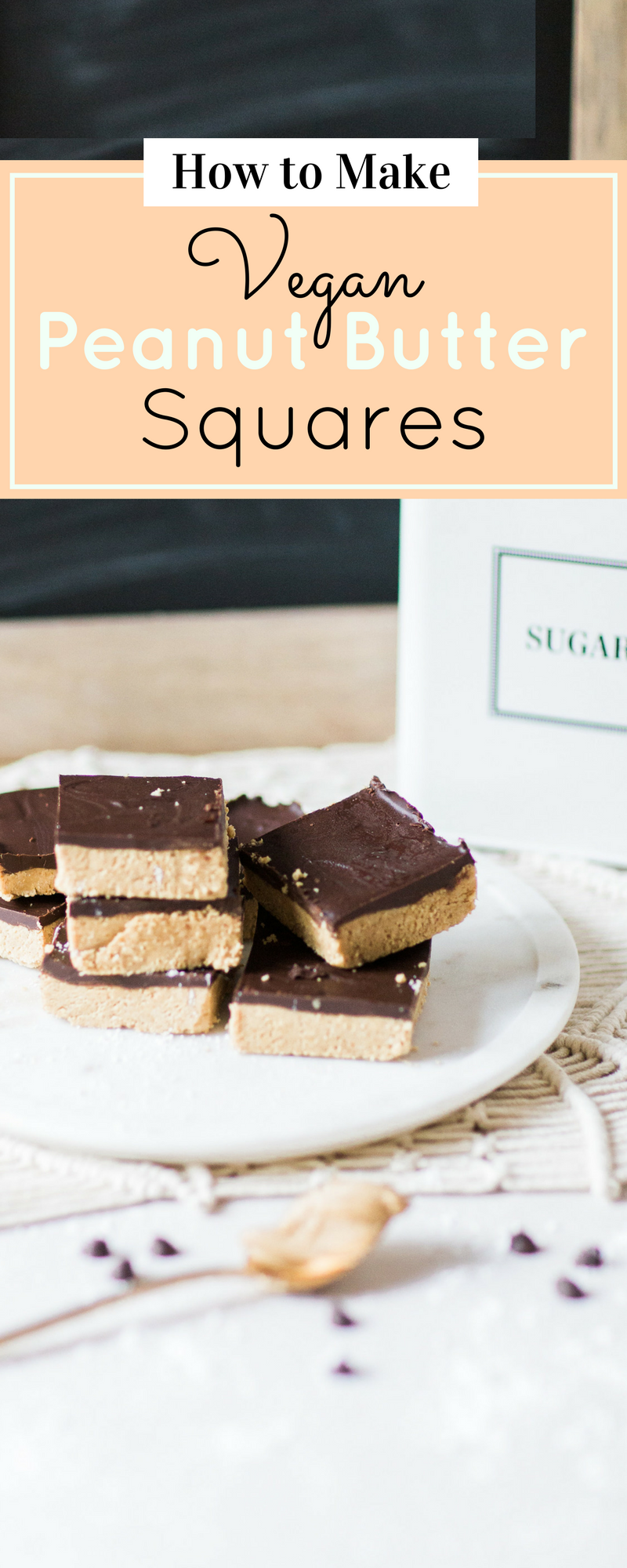 How to make vegan and dairy-free classic peanut butter chocolate squares. You will fall in love with this throwback dessert all over again! Click through for the recipe. | glitterinc.com | @glitterinc