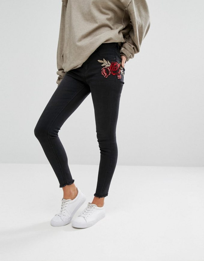 ASOS Embroidered Skinny Jeans