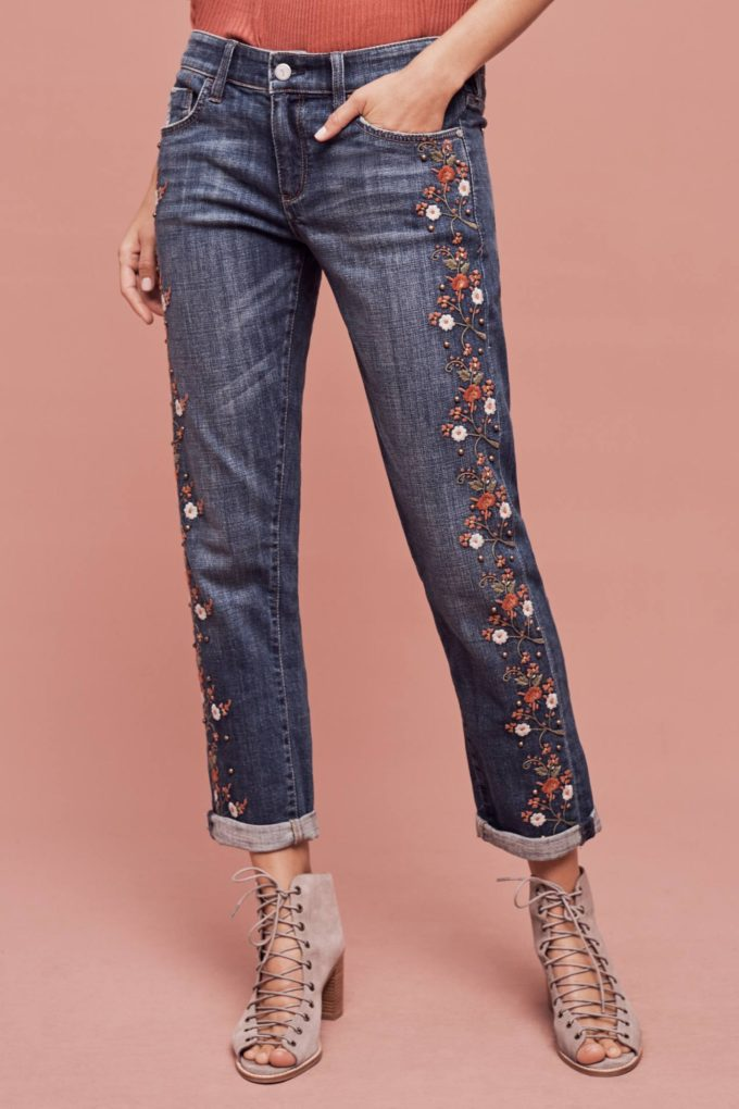 Anthropologie Pilcro Hyphen Mid-Rise Embroidered Jeans