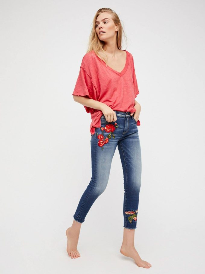 Free People Embroidered Skinny Jeans