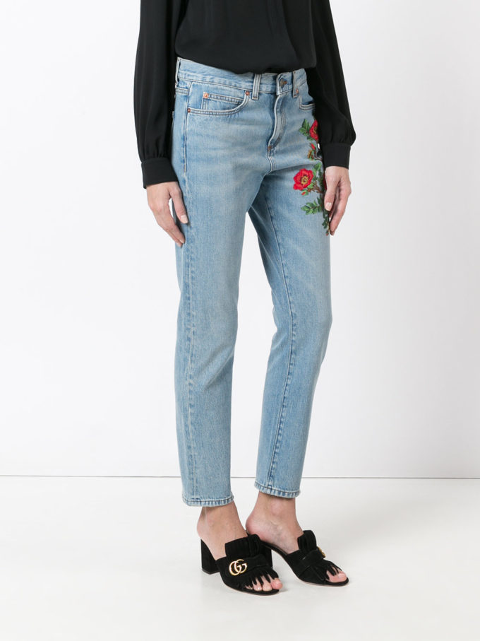 Gucci Embroidered Flower Jeans