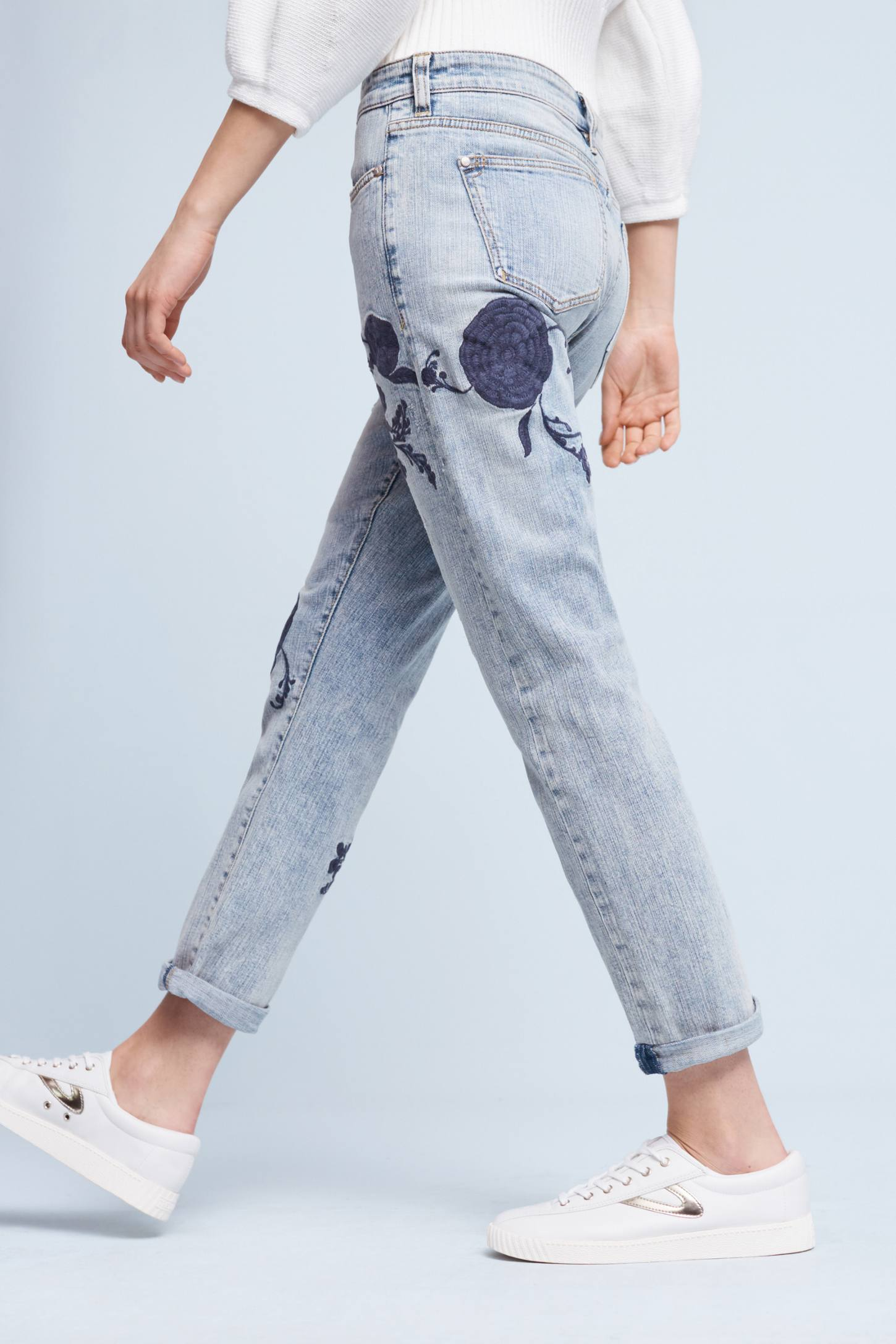 Pilcro Hyphen Embroidered Mid-Rise Jeans