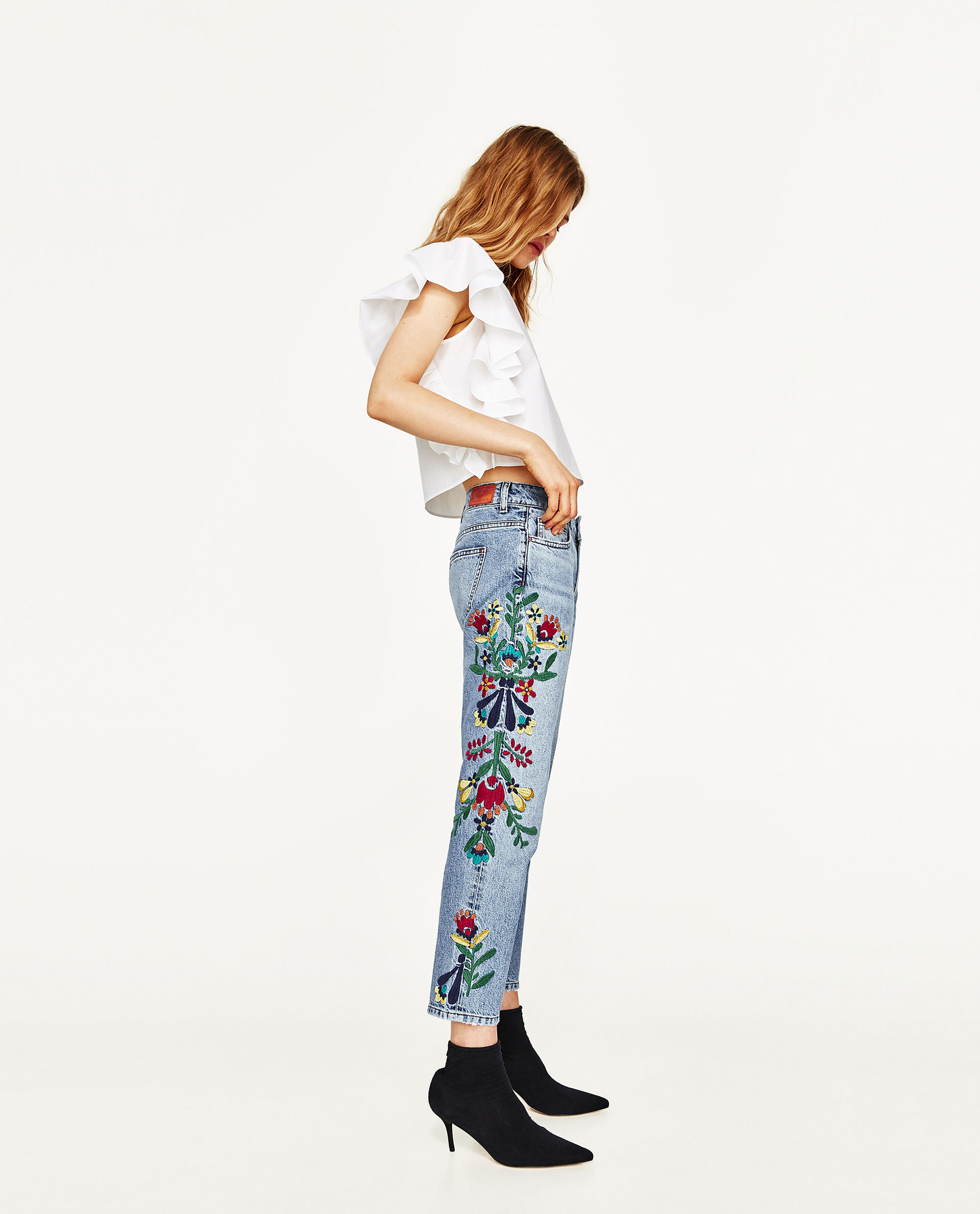 Zara Mid-Rise Jeans with Floral Embroidery