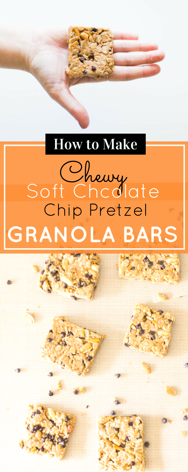How to make our favorite dairy-free soft chocolate chip pretzel granola bars. These easy homemade chewy granola bars are great for snacking on the go! | glitterinc.com | @glitterinc