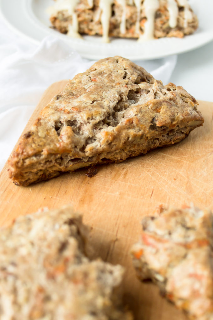 Carrot Cake Scones Recipe with Cream Cheese Glaze by lifestyle blogger Lexi of Glitter, Inc.
