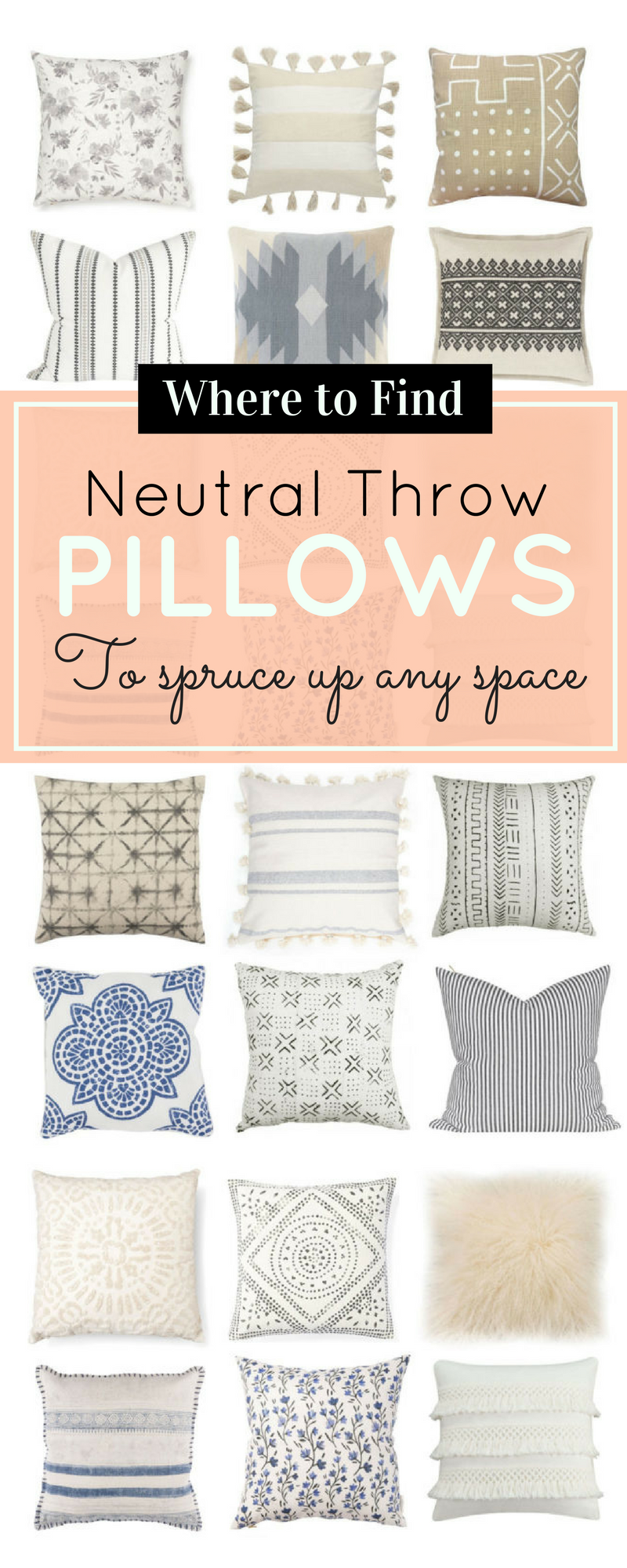 18 Neutral Throw Pillows to Spruce Up Any Space, because pillows make every room happier, more styled and pulled together. Click through for the details. | glitterinc.com | @glitterinc