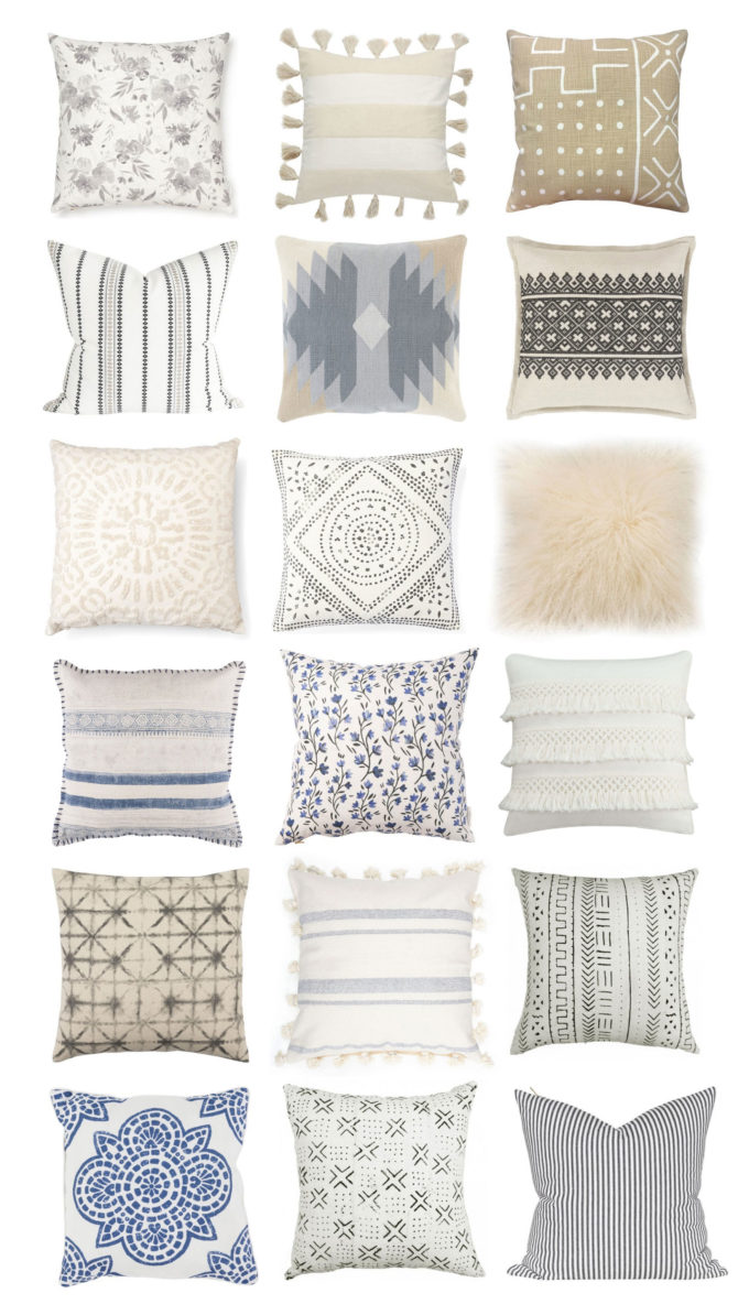 18 Neutral Throw Pillows to Spruce Up Any Space, with plenty on SALE. Click through for the details. | glitterinc.com | @glitterinc