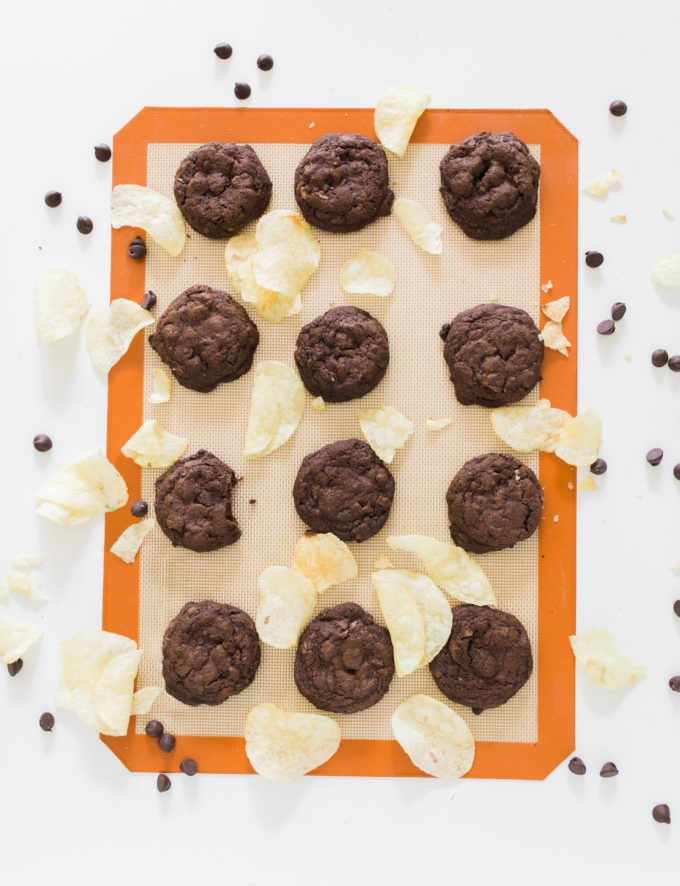 Decadent Double Chocolate Potato Chip Cookies by foodie blogger Lexi of Glitter, Inc. Click through for the recipe.   glitterinc.com   @glitterinc