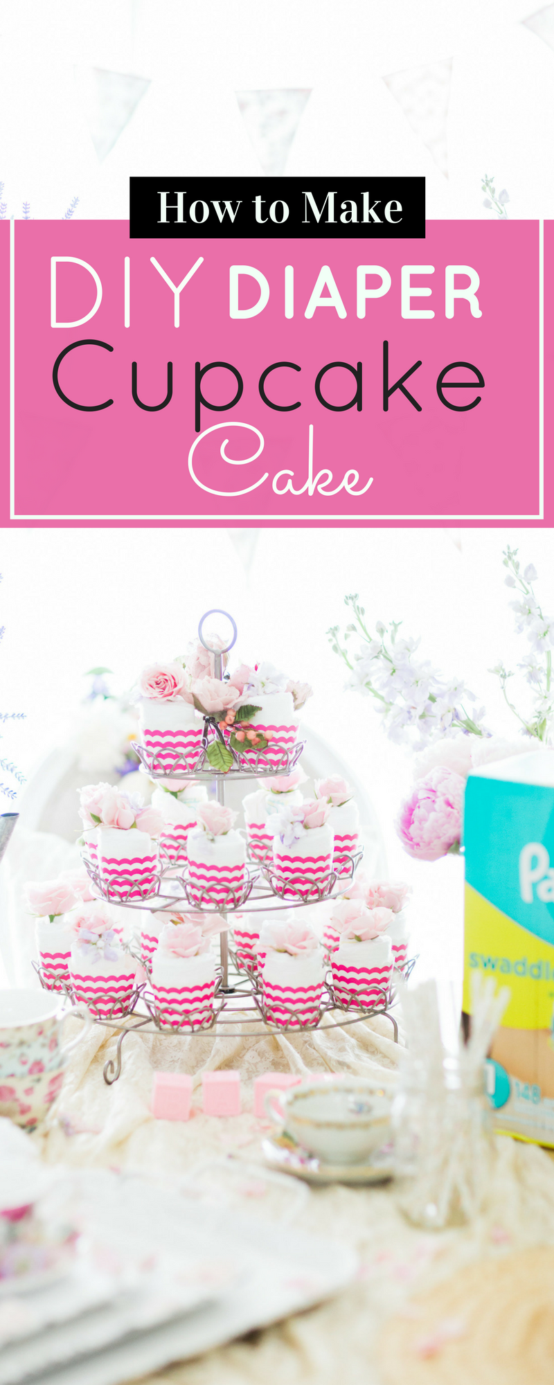 DIY diaper cake perfect for baby showers! | glitterinc.com | @glitterinc
