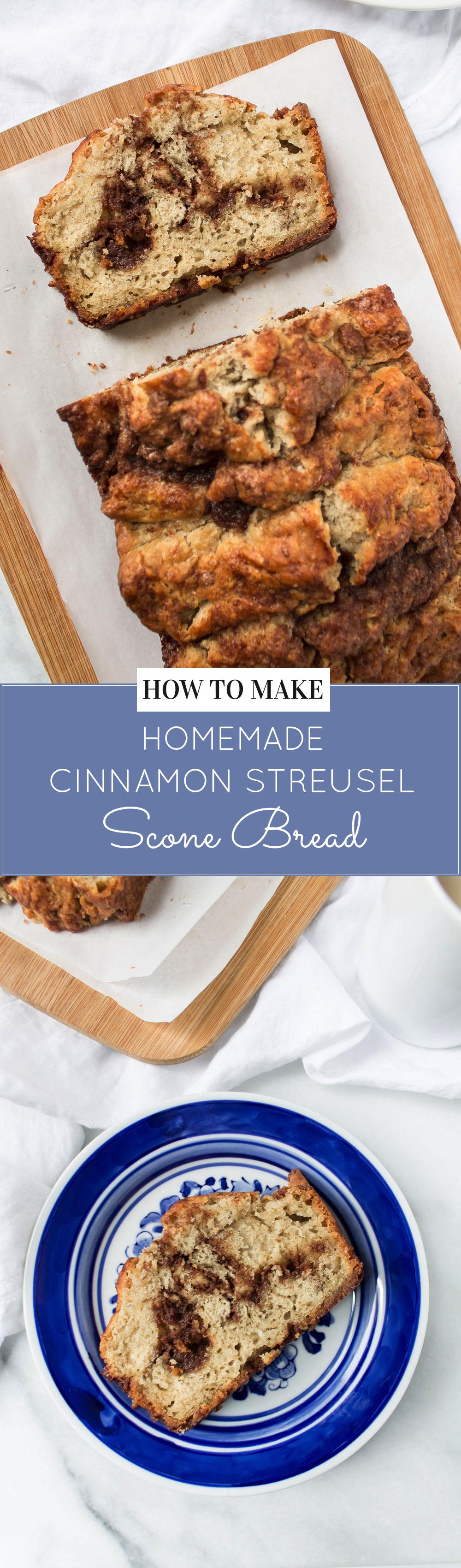 Food Blogger Lexi of Glitter, Inc. shares how to make homemade cinnamon streusel scone bread on Glitter, Inc. Click through for the recipe. | glitterinc.com | @glitterinc