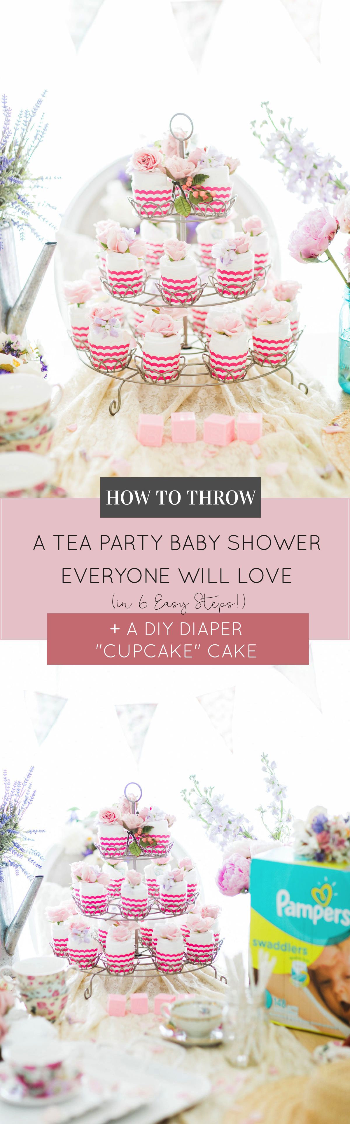 Lifestyle blogger Lexi of Glitter, Inc. shares how to throw a tea party baby shower in 6 easy steps; plus a DIY diaper cake using cupcake liners! #babyshower #teaparty #teapartybabyshower #shower #teapartyshower #party #newbaby #baby | Click through for the details. | glitterinc.com | @glitterinc