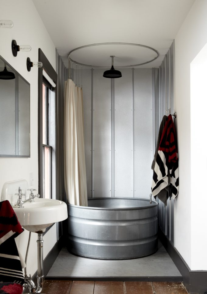 Home Design Trends: Galvanized Stock Tanks and Feed Troughs as Décor; Stock Feed Tank Repurposed as a Stand-In Shower