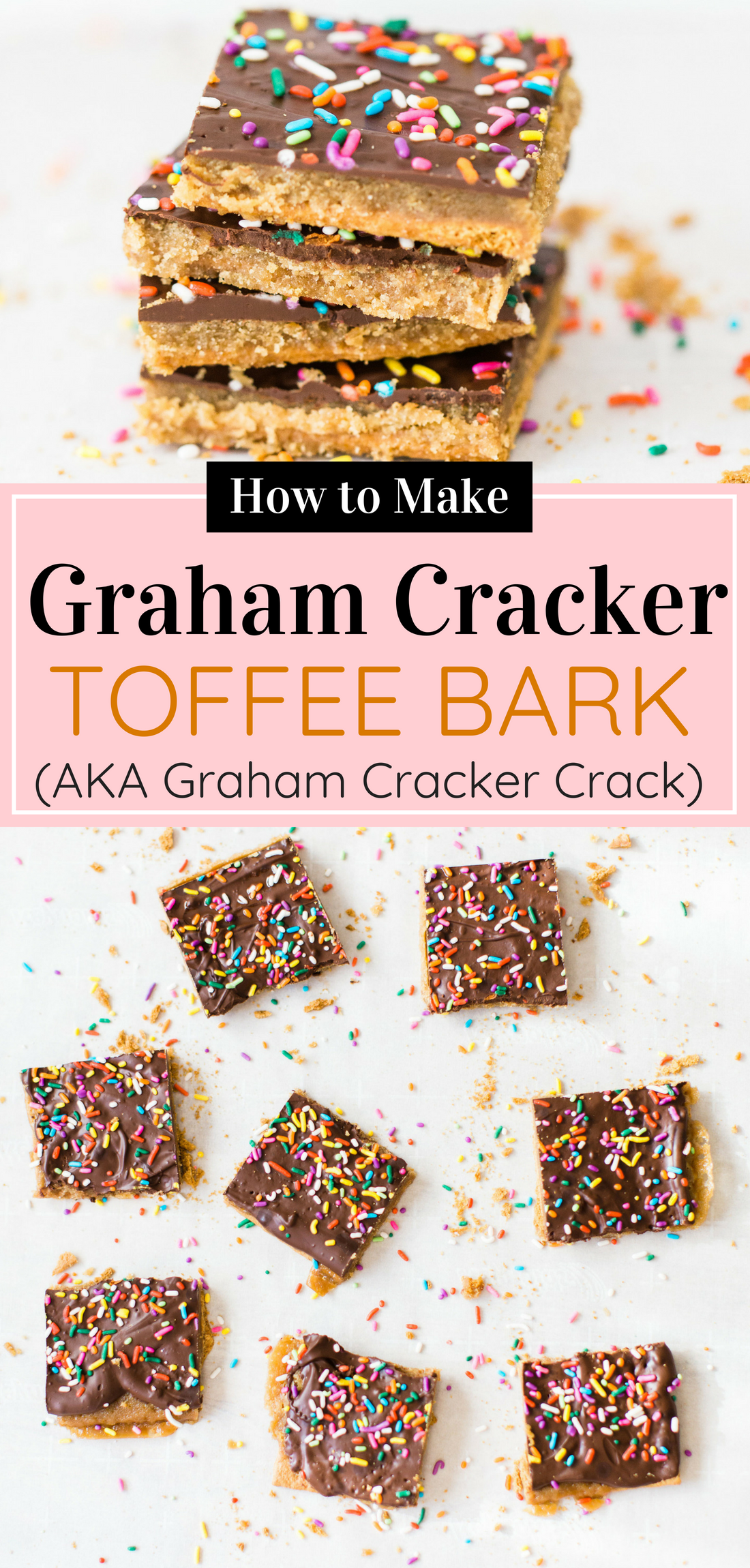 This classic graham cracker toffee bark, a.k.a., graham cracker crack, is a total crowd pleaser, and for good reason. Click through for the recipe. #candybark #grahamcrackerbark #grahamcrackercrack #toffeebark #toffeebarkcrack #diycandy #dessert #dessertbar | glitterinc.com | @glitterinc