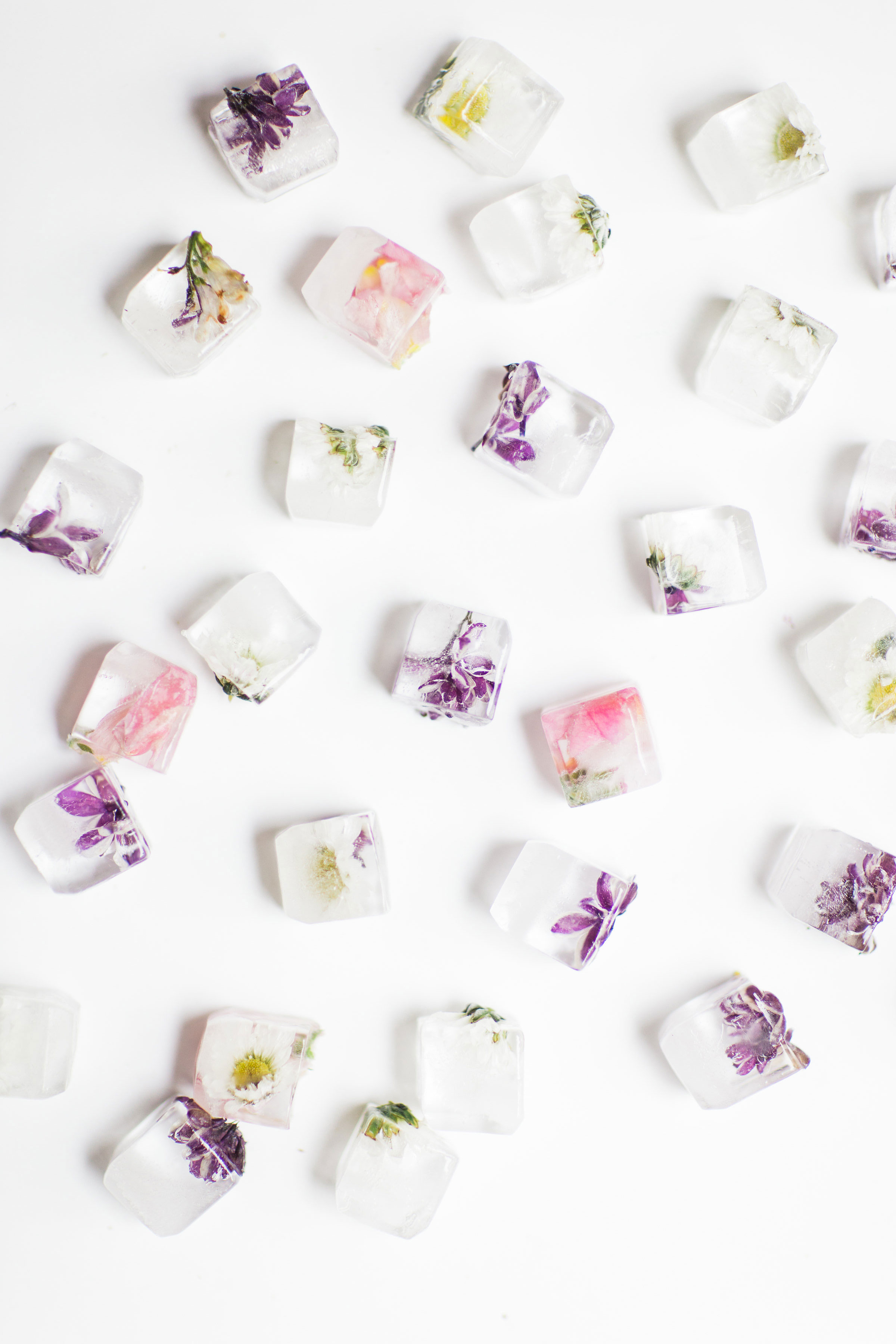 How to make the prettiest simple DIY floral ice cubes using fresh flowers for your next party. | glitterinc.com | @glitterinc