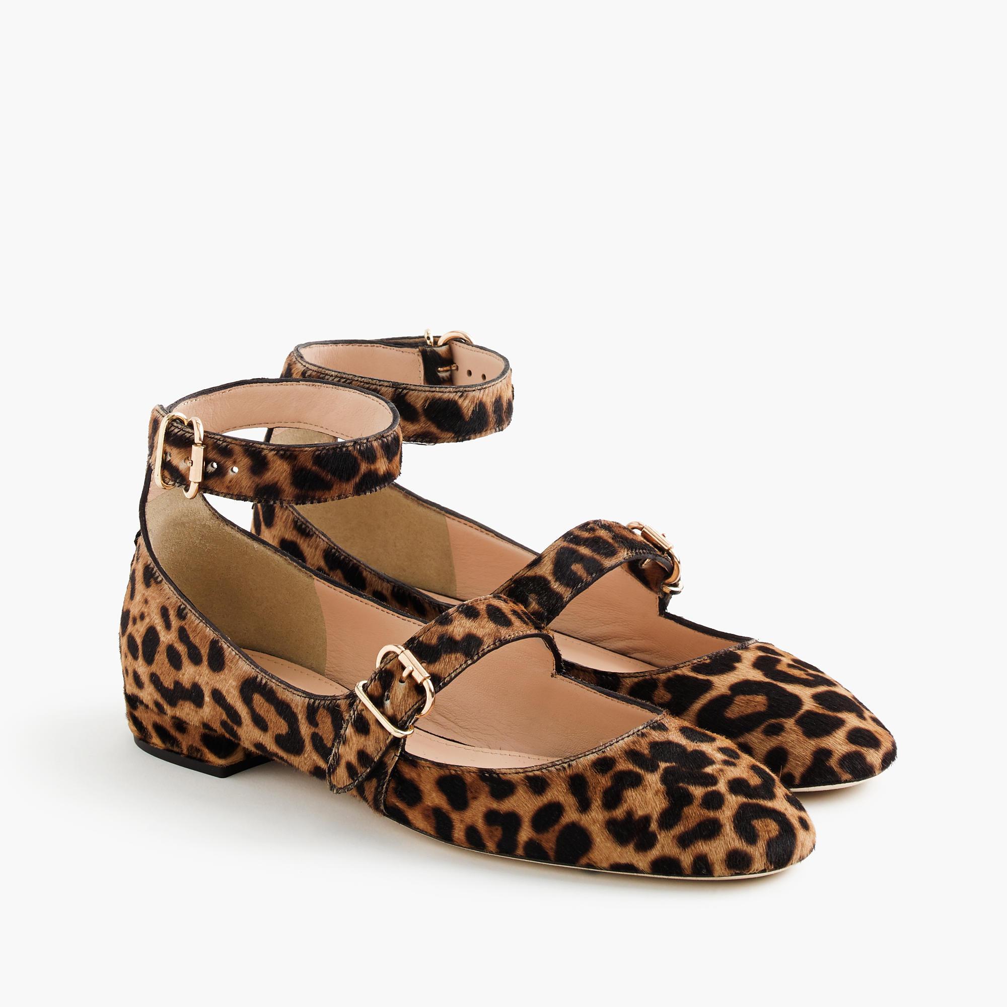 The season of stylish flats is here! Fall shoe love: J.Crew Double-strap Flats in Leopard Calf Hair | glitterinc.com | @glitterinc