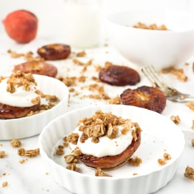 Roasted Peaches with Yogurt and Streusel