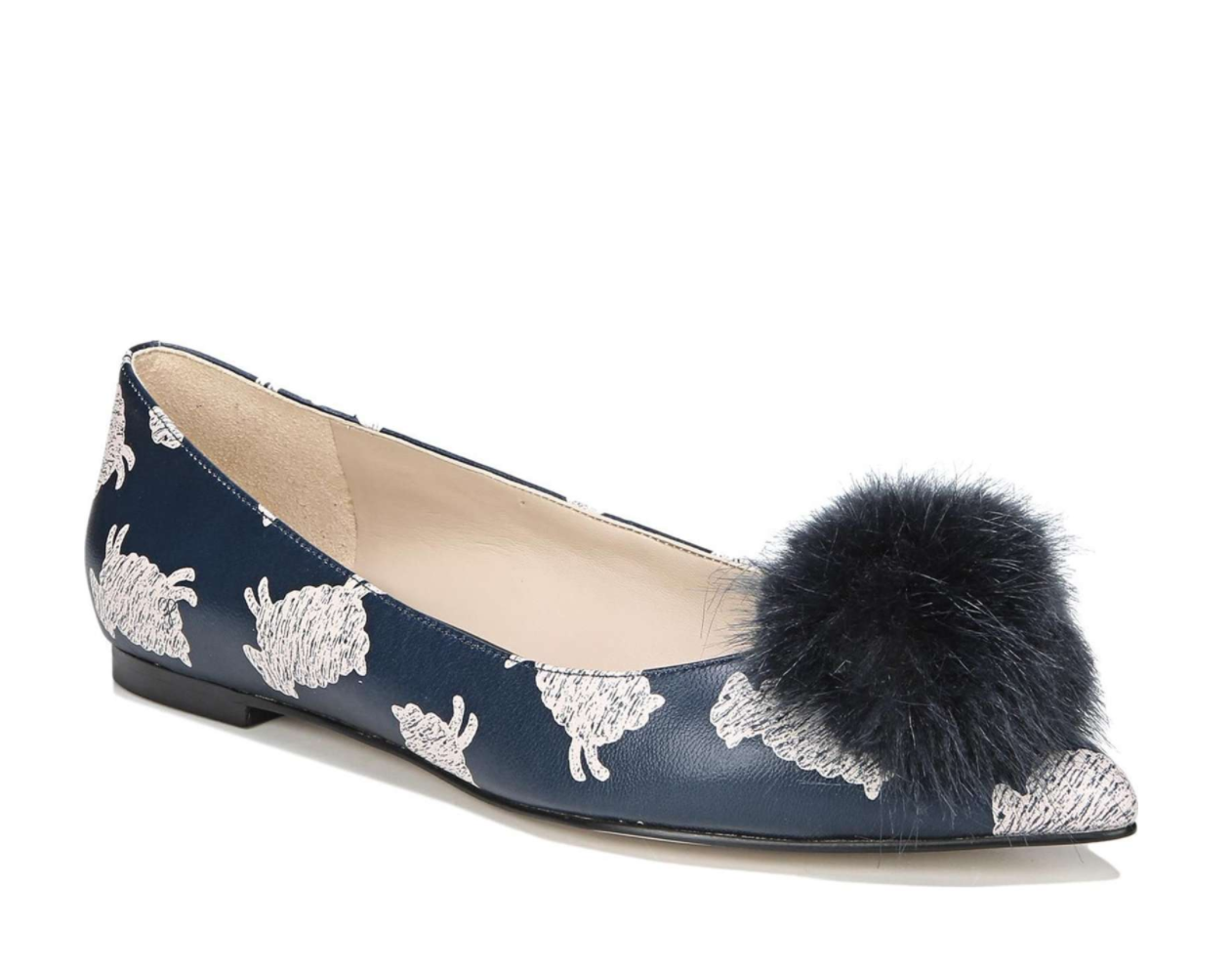 The season of stylish flats is here! Fall shoe love: Sam Edelman Raddie Faux Fur Pompom Flat | glitterinc.com | @glitterinc