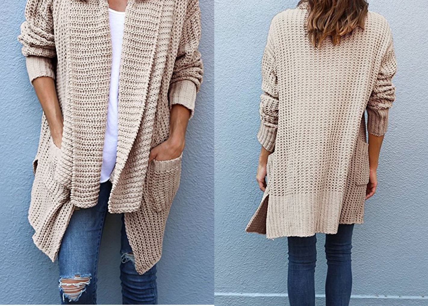 Loose Fit Knitted Cardigan Sweater with Pockets